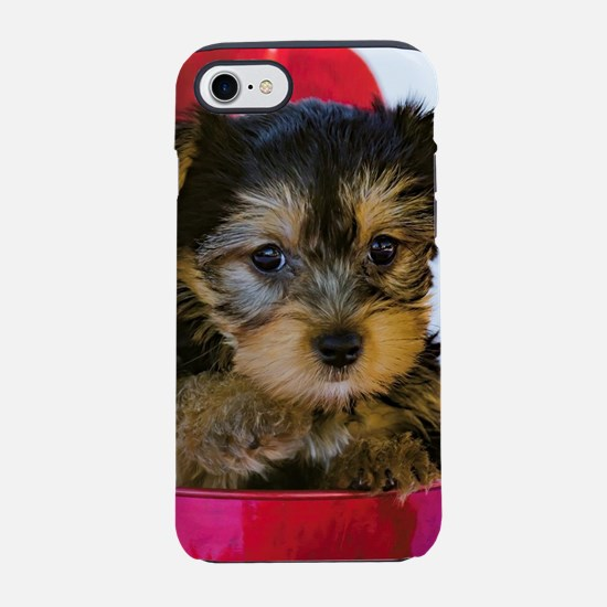 Christmas Yorkie Pointing Hi iPhone 8/7 Tough Case