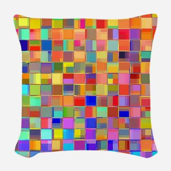 Color Mosaic Woven Throw Pillow