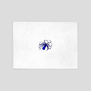 Vintage blue octopus 5'x7'Area Rug