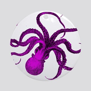 Purple vintage octopus Round Ornament