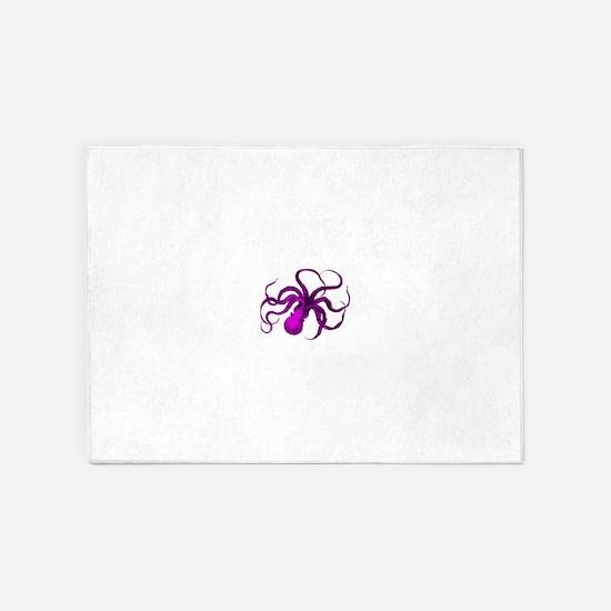 Purple vintage octopus 5'x7'Area Rug