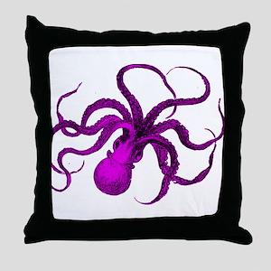 Purple vintage octopus Throw Pillow