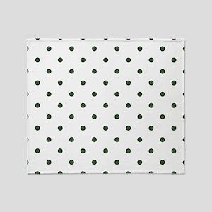 Green, Pine: Polka Dots Pattern (Sma Throw Blanket