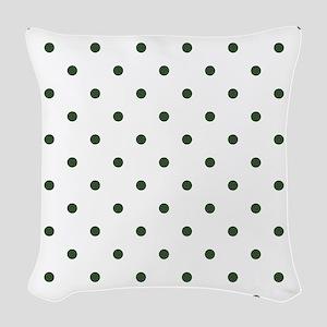 Green, Pine: Polka Dots Patter Woven Throw Pillow