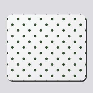 Green, Pine: Polka Dots Pattern (Small) Mousepad