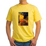 Cafe /Dachshund Yellow T-Shirt