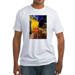 Cafe /Dachshund Fitted T-Shirt