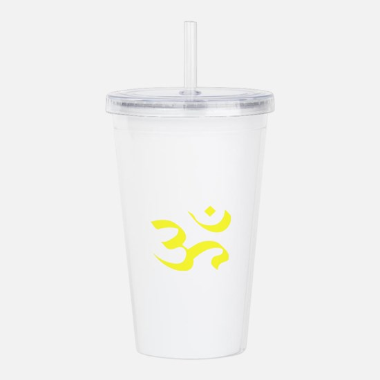 yellow aum ohm Acrylic Double-wall Tumbler