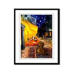 Cafe /Dachshund Framed Panel Print