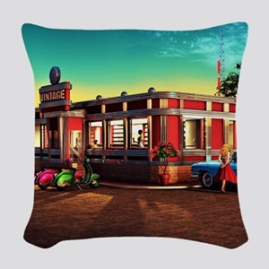 Vintage Restaurant Woven Throw Pillow