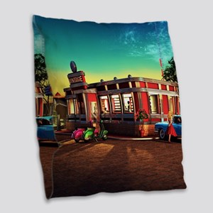 Vintage Restaurant Burlap Throw Pillow
