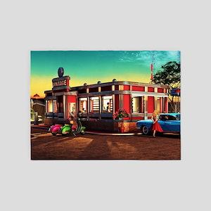 Vintage Restaurant 5'x7'Area Rug
