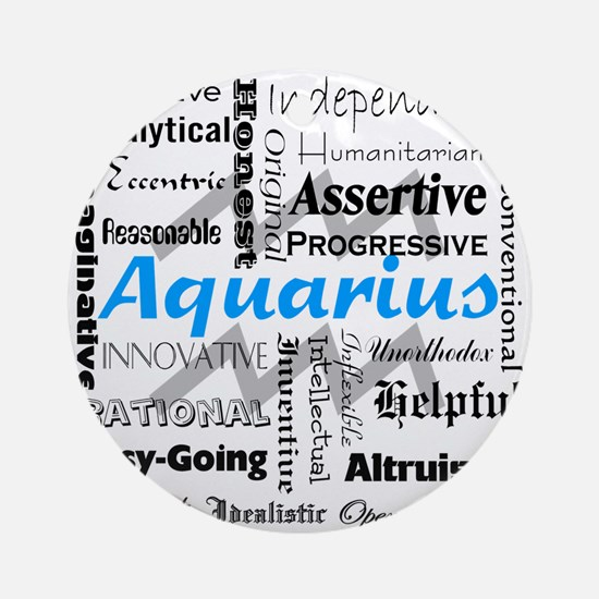 Aquarius Collage Round Ornament