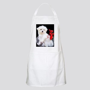 Maltese Puppy in Silver Sled with Red Light Apron
