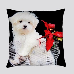 Maltese Puppy in Silver Sled with Everyday Pillow