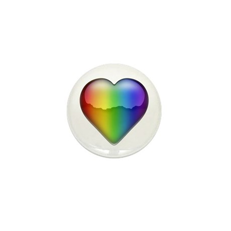 Rainbow Heart 2 Mini Button (10 pack)