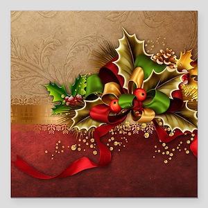 """Christmas Decor Square Car Magnet 3"""" x 3"""""""