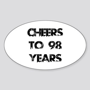 Cheers To 98 Years Designs Sticker (Oval)