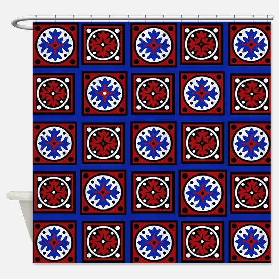 Americana Quilted Tile Print Shower Curtain