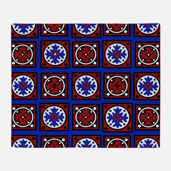Americana Quilted Tile Print Throw Blanket