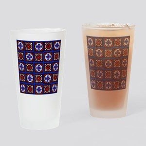 Americana Quilted Tile Print Drinking Glass