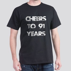 Cheers To 91 Years Designs Dark T-Shirt