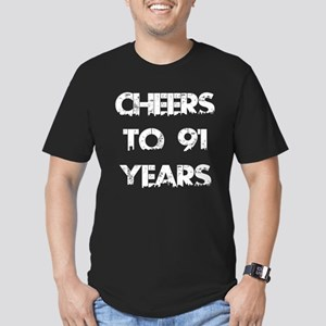 Cheers To 91 Years Des Men's Fitted T-Shirt (dark)