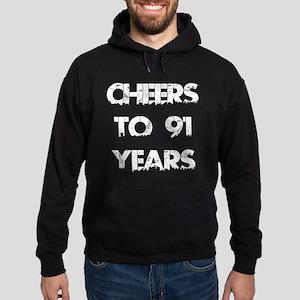 Cheers To 91 Years Designs Hoodie (dark)
