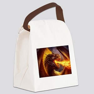 Fire dragon Canvas Lunch Bag