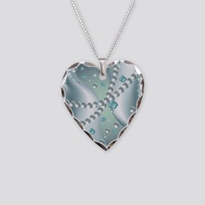 Teal Pearl Abstract Necklace Heart Charm