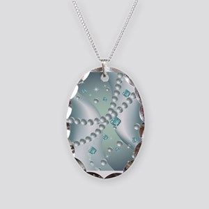 Teal Pearl Abstract Necklace Oval Charm