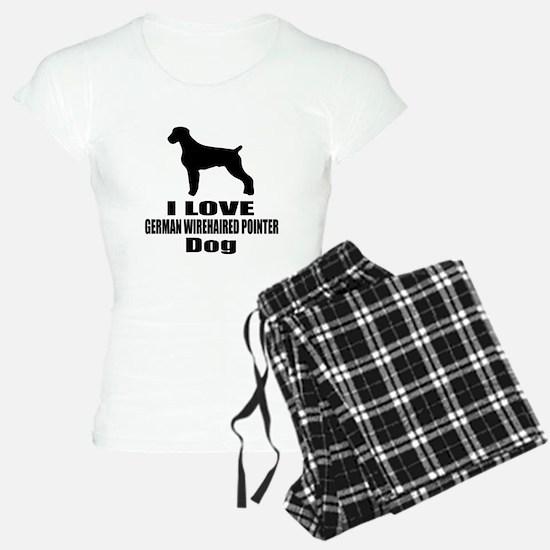 I Love German Wirehaired Po Pajamas