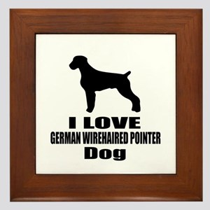 I Love German Wirehaired Pointer Dog Framed Tile