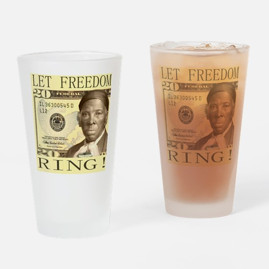 Harriet Tubman $20 Bill Drinking Glass