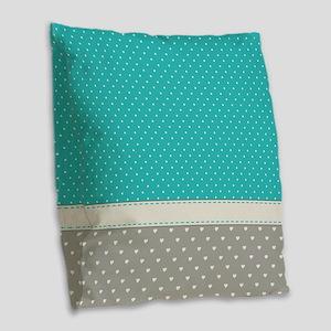 Dots and Hearts Burlap Throw Pillow