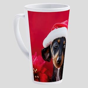 Dachshund Puppy Wearing a Santa Ha 17 oz Latte Mug