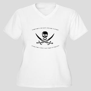 Pirating Nurse Women's Plus Size V-Neck T-Shirt