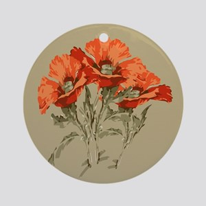 Red Poppies Round Ornament