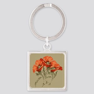 Red Poppies Square Keychain