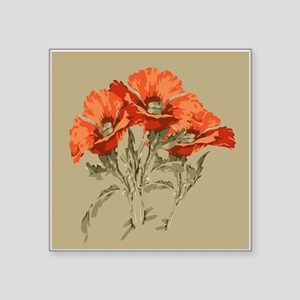 """Red Poppies Square Sticker 3"""" x 3"""""""