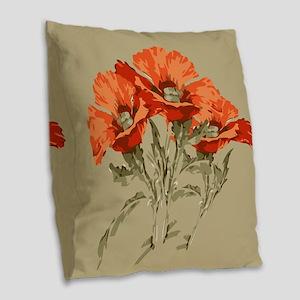 Red Poppies Burlap Throw Pillow