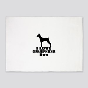 I Love German Pinscher Dog 5'x7'Area Rug