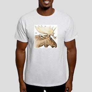 Moose Antler Head (Front) Ash Grey T-Shirt