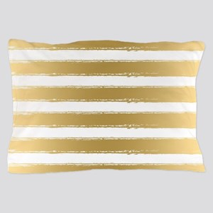 Grungy Gold And White Stripes Pattern Pillow Case