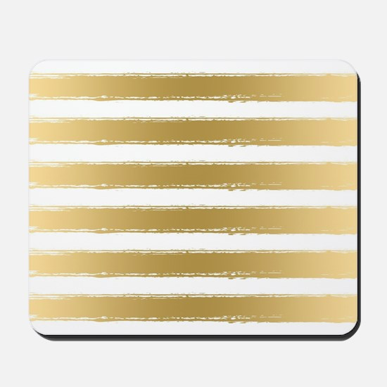 Grungy Gold And White Stripes Pattern Mousepad