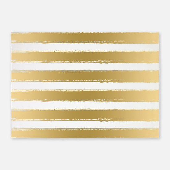 Grungy Gold And White Stripes Patte 5'x7'Area Rug