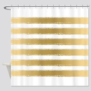 Grungy Gold And White Stripes Patte Shower Curtain