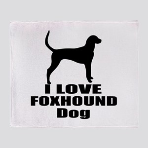 I Love Foxhound Dog Throw Blanket