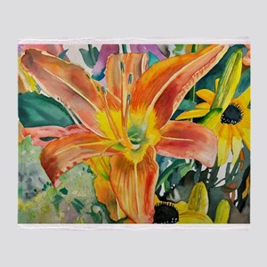 Tiger Lily Original Watercolor Throw Blanket