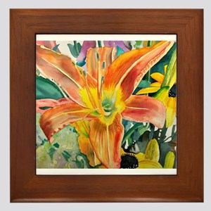 Tiger Lily Original Watercolor Framed Tile